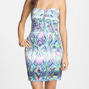 Charlie Jade Abstract Print Strapless Silk Dress